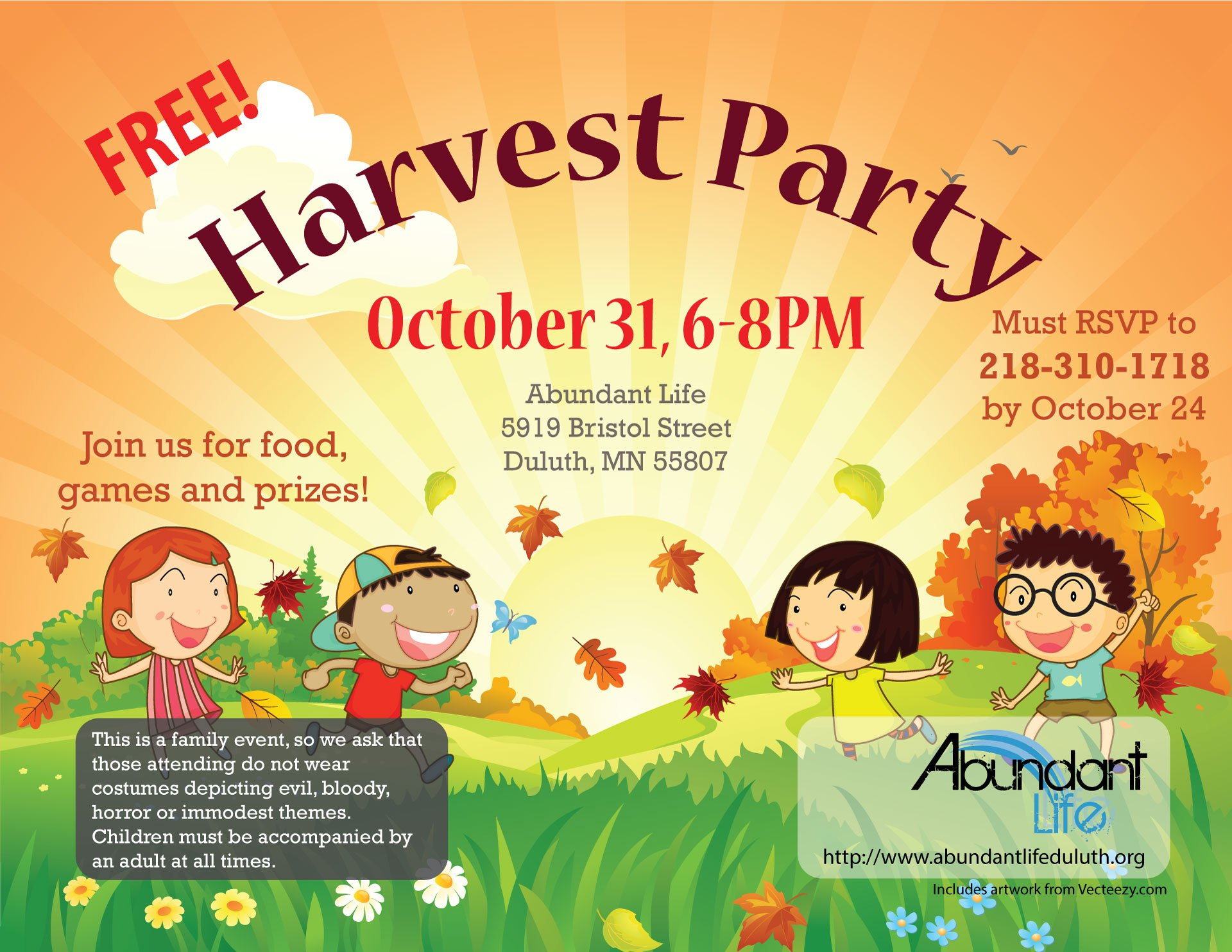 Harvest Party Location Changed